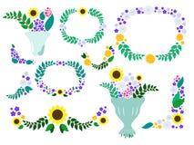 Sommarblommakransar och buketter - blom- gemkonst för äng royaltyfri illustrationer