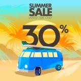 Sommarbussförsäljningar, rabatter och erbjudanden Arkivfoto