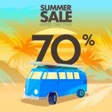 Sommarbussförsäljningar, rabatter och erbjudanden Arkivbild