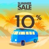Sommarbussförsäljningar, rabatter och erbjudanden Royaltyfri Bild