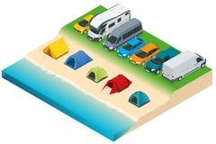 Sommarcampa och tält nära en flod eller en sjö Isometrisk illustration för plan vektor 3d semester- och feriebegrepp Vektor Illustrationer