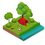 Sommarcampa och tält nära en flod eller en sjö Isometrisk illustration för plan vektor 3d semester- och feriebegrepp Royaltyfri Illustrationer