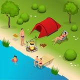 Sommarcampa och tält nära en flod eller en sjö Isometrisk illustration för plan vektor 3d semester- och feriebegrepp Royaltyfri Foto