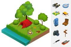 Sommarcampa och tält nära en flod eller en sjö Isometrisk illustration för plan vektor 3d semester- och feriebegrepp Stock Illustrationer