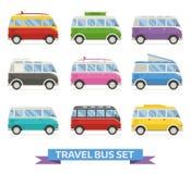 Sommarcampare Van Colorful Vector Icons Arkivbilder