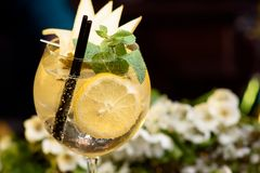 Sommarcoctail som dekoreras med mintkaramell-, citron- och skivapäron på en trätabell på en blom- bakgrund arkivfoton