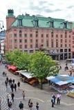 Sommardag på Hötorget Fotografering för Bildbyråer