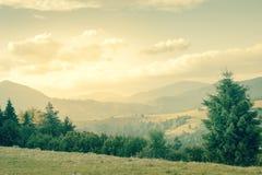 Sommardagen är i berglandskapet - tappningstil Arkivbild