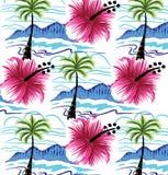 Sommardesigner av stranden Och härliga blommor Royaltyfri Foto