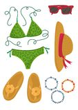 Sommardräktbeståndsdelar Arkivbild