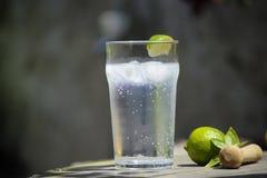 Sommardrink med limefrukt och is Arkivfoton