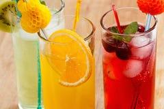 Sommardrycker, coctail med is, fruktsaft och frukt Arkivbilder
