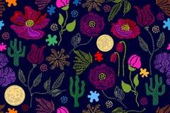 Sommaren färgar Blom- sömlös vektormodell med broderivildblommor och su Arkivfoto