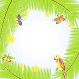 Inrama med palmträdet och papegojor Vektor Illustrationer
