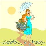 SOMMAREN landskap H?rlig flicka med en korg av blommor festlig vykort ocks? vektor f?r coreldrawillustration stock illustrationer
