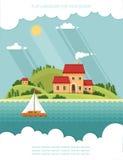 SOMMAREN landskap Liten bygata med små hus och tr Royaltyfria Bilder