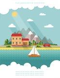 SOMMAREN landskap Liten bygata med små hus och tr Royaltyfri Fotografi