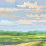 Sommaren landskap med floden Vektor Illustrationer