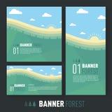 SOMMAREN landskap Plan stil vektor illustrationer