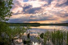 SOMMAREN landskap Sjö Topozero Norr Karelia Arkivfoto