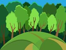 SOMMAREN landskap solig dagskogliggande Många av träden i skogen royaltyfri illustrationer