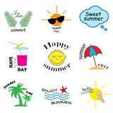 Sommaretiketter, logoer, hand dragen etiketter och beståndsdeluppsättning för sommarferie, lopp, strandsemester, sol vektor stock illustrationer