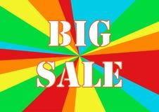 Sommarförsäljningsaffisch med regnbågefärg i bakgrund, försäljningserbjudande för kund, rengöringsdukanvändning Royaltyfri Bild