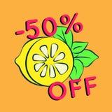 Sommarförsäljningsbakgrund med citronen Fotografering för Bildbyråer
