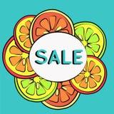 Sommarförsäljningsbakgrund med citronen Arkivbilder