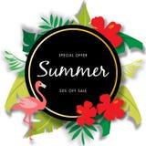 Sommarförsäljningsbakgrund med den härliga blomman, vektorillustrationmall royaltyfri illustrationer