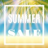Sommarförsäljningsbakgrund med gömma i handflatan och solen royaltyfri illustrationer
