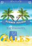 Sommarförsäljningsbakgrund med sjösidan och palmträd Royaltyfria Foton