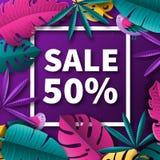 Sommarförsäljningsbakgrund med tropiska växter och fåglar också vektor för coreldrawillustration Royaltyfria Bilder