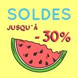Sommarförsäljningsbakgrund med vattenmelon Arkivbild