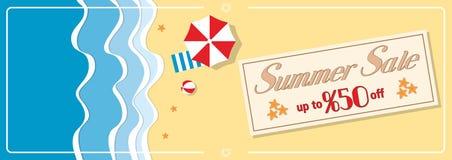 Sommarförsäljningsbaner med paraplyet Arkivbild
