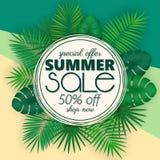 Sommarförsäljningsbanret, affischmallen med palmblad och djungeln spricker ut Blom- tropisk sommarbakgrund Fotografering för Bildbyråer