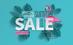 Sommarförsäljningsbanret med papper klippte flamingo och tropisk sidabakgrund, den exotiska blom- designen för banret, reklamblad stock illustrationer