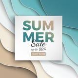 Sommarförsäljningsbanret med papperssnittramen på blå havs- och strandsommarbakgrund med kurvpapper vinkar och seacoasten för des vektor illustrationer