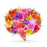 Sommarförsäljningsbubbla, färgrika blommor. Arkivbilder