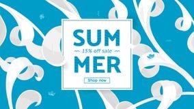 Sommarförsäljningserbjudandet med text och tropiska sidor i en collage utformar Erbjudande 15 procent av Fotografering för Bildbyråer