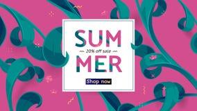 Sommarförsäljningserbjudandet med text och tropiska sidor i en collage utformar Erbjudande 20 procent av Arkivfoton