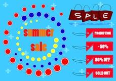 Sommarförsäljningstext och etikett av försäljningsmarknadsföringen Fotografering för Bildbyråer