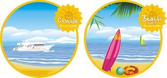 Sommarferie. Kryssning- och strandsemesterort. Symboler för royaltyfri illustrationer
