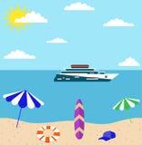 Sommarferie på havsstranden Vektor Illustrationer