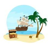 Sommarferier reser symbolen med piratkopierar skeppet, kokospalmen, skattbröstkorgen och stranden Royaltyfria Bilder