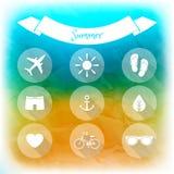 Sommarferier, uppsättning av plana symboler Royaltyfri Fotografi