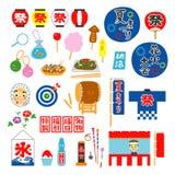 Sommarfestival i Japan, objekt, objekt vektor illustrationer