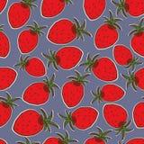 Sommarfruktillustration Sömlös bakgrund med röda jordgubbar Gullig jordgubbemodell Royaltyfri Bild