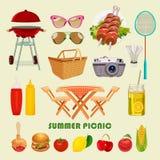 Sommargrillfest- och picknicksymboler ställde in på ljus bakgrund Arkivbild