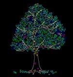 Sommarhjärtaträd på svart royaltyfri illustrationer
